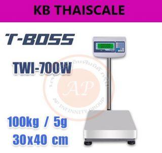 ตาชั่งดิจิตอล เครื่องชั่งตั้งพื้น 100kg ละเอียด 5g ขนาดแท่น 30x40cm ยี่ห้อ T-BOSS