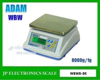 เครื่องชั่งกันน้ำกันความชื้น8kg ค่าละเอียด1g ยี่ห้อ ADAM รุ่น WBW8